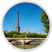 Eiffel Tower And Bridge On Seine River In Paris France Round Beach Towel