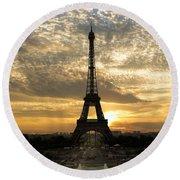 Eiffel Tower At Sunset Round Beach Towel by Debra and Dave Vanderlaan