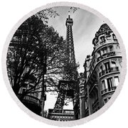 Eiffel Tower Black And White Round Beach Towel