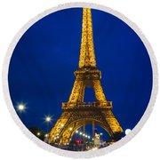 Eiffel Tower By Night Round Beach Towel