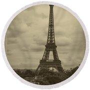 Eiffel Tower Round Beach Towel by Debra and Dave Vanderlaan