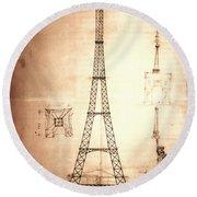 Eiffel Tower Design Round Beach Towel
