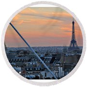 Eiffel Tower From Above Round Beach Towel