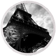 Eiffel Tower In Black And White. Ominous Sky Overhead Round Beach Towel