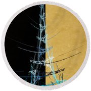 Eiffel Tower In Blue Abstract Round Beach Towel