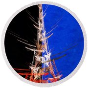 Eiffel Tower In Red On Blue  Abstract  Round Beach Towel
