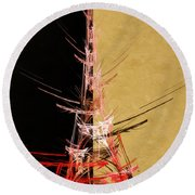 Eiffel Tower In Red On Gold  Abstract  Round Beach Towel