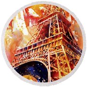 Eiffel Tower In Red Round Beach Towel