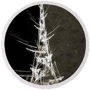 Eiffel Tower In White Bw 2 Abstract Round Beach Towel