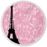 Eiffel Tower - Love In Paris Round Beach Towel