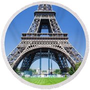 Eiffel Tower Lower Part Paris Round Beach Towel