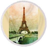 Eiffel Tower Mood Round Beach Towel