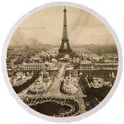 Eiffel Tower, Paris, 1900 Round Beach Towel