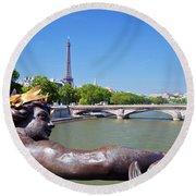 Eiffel Tower Paris France Round Beach Towel