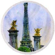 Eiffel Tower Paris Round Beach Towel