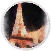 Eiffel Tower Paris Las Vegas Photo Art Round Beach Towel