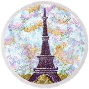Eiffel Tower Pointillism Round Beach Towel