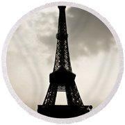 Eiffel Tower Silhouette Round Beach Towel by Nila Newsom