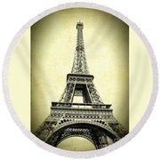 Mighty Eiffel Tower Round Beach Towel