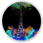 Eiffel Tower Topiary Round Beach Towel