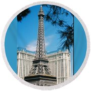 Eiffl Tower Vegas Round Beach Towel