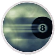 Eight Ball In Motion Round Beach Towel by Bob Orsillo