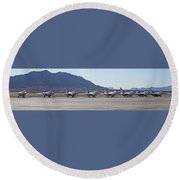 Eight F-16 Thunderbird Falcon's On Static Display Nellis Round Beach Towel