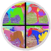 Eight Horses Round Beach Towel by Patrick J Murphy