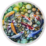 Eight Koi Fish Playing With Bubbles Round Beach Towel