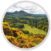 Eildon Hill - Three Peaks And A Valley Round Beach Towel