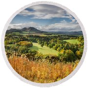 Eildon Hills In Autumn Round Beach Towel