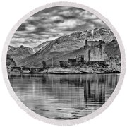 Eilean Donan - A Reflection Without Colour Round Beach Towel