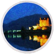 Eilean Donan At Night Round Beach Towel