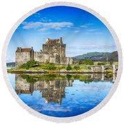 Eilean Donan Castle Reflections 2 Round Beach Towel