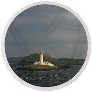 Eilean Musdile Lighthouse Round Beach Towel