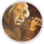 Einstein - Original  Oil Painting Round Beach Towel