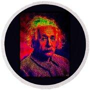 Einstein - Pop Art Round Beach Towel
