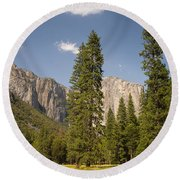 El Capitan And Yosemite Valley Round Beach Towel