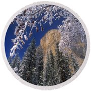 El Capitan Framed By Snow Covered Black Oaks California Round Beach Towel