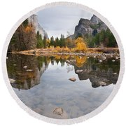 El Capitan Reflected In The Merced River Round Beach Towel
