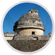 El Caracol At Chichen Itza Round Beach Towel