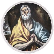 El Greco's The Repentant Saint Peter Round Beach Towel