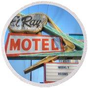 El Ray Motel Round Beach Towel