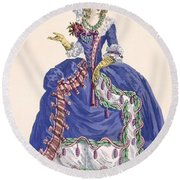 Elaborate Court Dress In Electric Blue Round Beach Towel