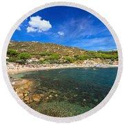 Elba Island - Beach In Seccheto  Round Beach Towel