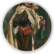 Elderly Moroccan Jew, 1867 Oil On Canvas Round Beach Towel