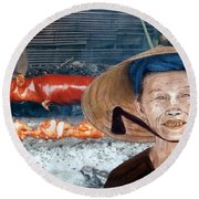 Elderly Vietnamese Woman Wearing A Conical Hat Altered Version Round Beach Towel