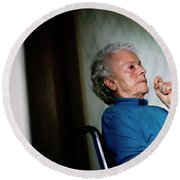 Elderly Woman Sitting In A Wheel Chair Round Beach Towel