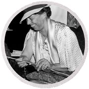 Eleanor Roosevelt Knitting Round Beach Towel by Underwood Archives