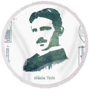Electric Arc Lamp Patent Art Nikola Tesla Round Beach Towel